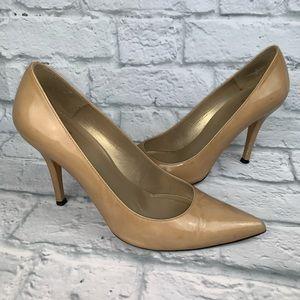 Stuart Weitzman Nude Patent Leather Heels 8